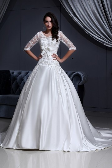 V neck Lace Applique Chapel A line Bridal Gown Wedding Dress