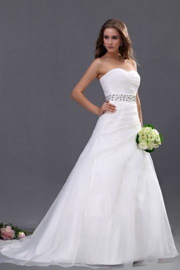 Schlichtes Ball gown Herz-Ausschnitt Organza weißes Brautkleider