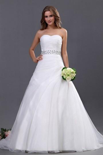 Vestido de noiva simple decote em coração Sem alça decorado de lantejoula