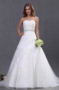 Organza Bead Embellishment Sweetheart Chapel A line Bridal Gown Wedding Dresses