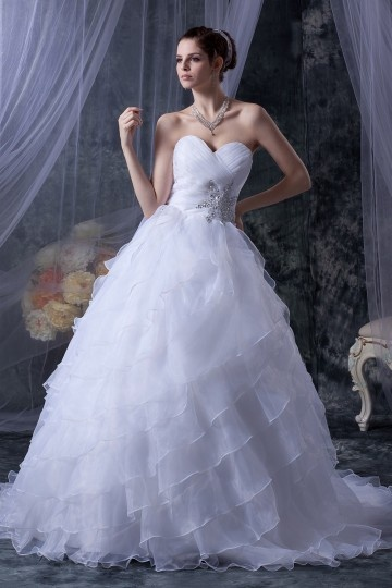 Vestido princesa de noiva decote em coração Sem alça decorado de jóias em organza