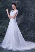Vestido longo de noiva em organza decote quadrado com manga curta