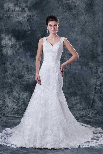 Vestido de noiva renda decote em V com alça de pescoço decorado de apliques