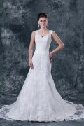Satin & Lace Applique Beaded Shoulder Straps Chapel A line Bridal Gown Wedding Dress