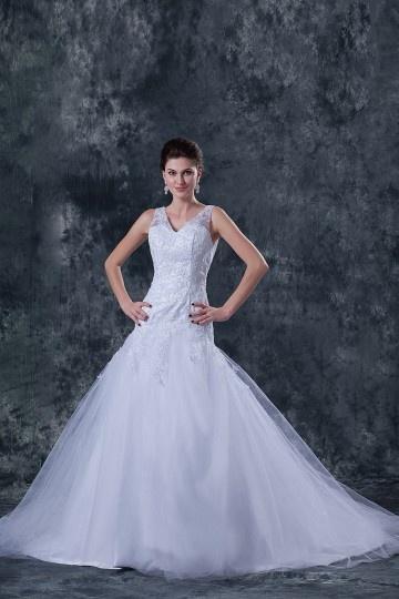 Vestido de noiva decote em V com alça Trompete em organza