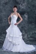 Elegant Weiß Ärmellos Brautkleid aus Organza mit Schnürung