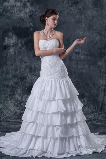 Vestido de noiva bustiê decote em coração em tafetá linha A