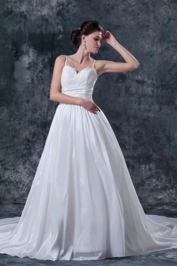 Vestido de noiva princesa em tafetá linha A com alça fina