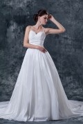 Discount Taffeta Tulle Applique A line Wedding Dress