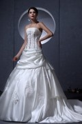 Fashion Strapless Satin Applique Bead A line Wedding Dress