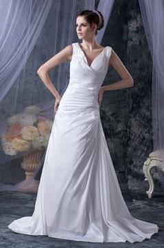 214396ab9b0d Lace Up Taffettà Pieghe Abito Da Sposa Elegante
