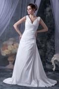 Chic V-Ausschnitt A-Linie langes Brautkleider aus Taft