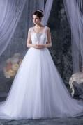 Vestido de casamento princesa decote quadrado com alça em Tule decorado de jóias