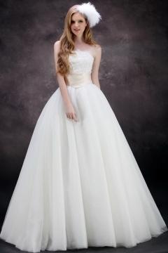 Ruffles & Applique & Beading Strapless Satin A Line Wedding Dress