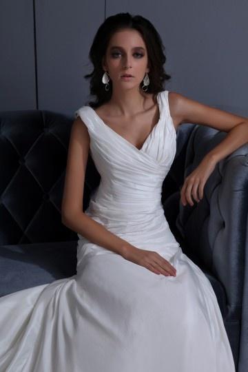V-Ausschnitt langes weißes A-Linie Brautkleider aus Taft Persun