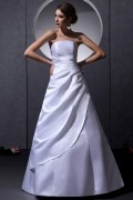 Strapless Sleeveless Lace Up Floor Length Ruffle Satin Woman A Line Wedding Dress