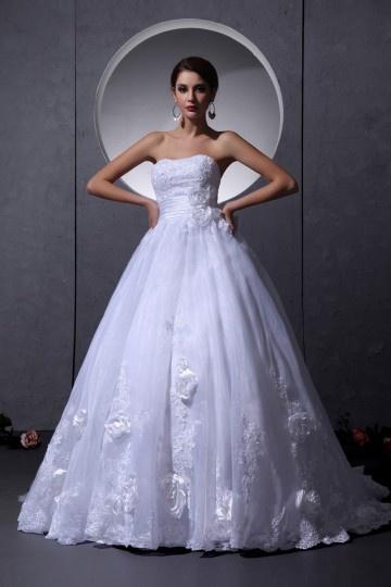 Vestido de noiva bustiê Sem alça Império decorado de flor feita à mão