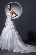 Elegantes Applikation Empire Schnürung Hochzeitskleid mit Knopfe