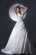 Taffeta Tulle Ruffle Applique Baldric Chapel A line Bridal Gown Wedding Dresses