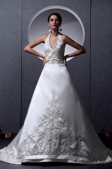Vestido de noiva sensual em cetim linha A decote em V
