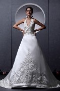Satin Ruffle Applique Strapless Chapel A line Bridal Gown Wedding Dresses