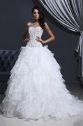 Tulle Organza Strapless Flower Bead A line Wedding Dress
