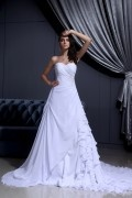 Chiffon & Satin Ruffle Beaded Sweetheart Chapel A line Bridal Gown Wedding Dress