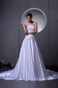 Elastic Woven Satin Bead Ruffle Embellishment Strapless Chapel A line Bridal Gown Wedding Dresses