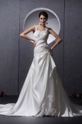 Applique Satin Ruffles Beading Sleeveless Sweetheart Chapel Train A line Wedding Dresses