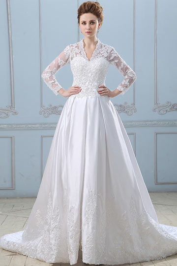 Satin Lace Mandarin Collar Chapel A line Wedding Dress Dressesmall