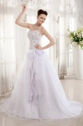 Beading Organza & Charmeuse Sleeveless Sweetheart Chapel Train A line Wedding Dresses