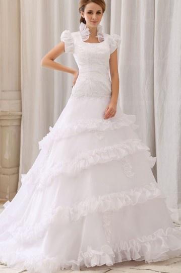 Vestido de noiva Moderno linha A em organza decote quadrado  com manga curta