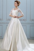 Solid Applique Lacework V Neck Half Sleeve Back Zipper Court Train Satin A line Wedding Dress