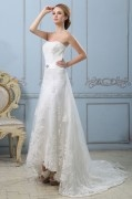 Strapless Solid Applique Lacework Back Zipper Court Train Satin A line Wedding Dress