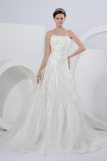 Vestido de noiva princesa bustiê decorado de pregueado oblíqua com apliques ,costas assimétrica