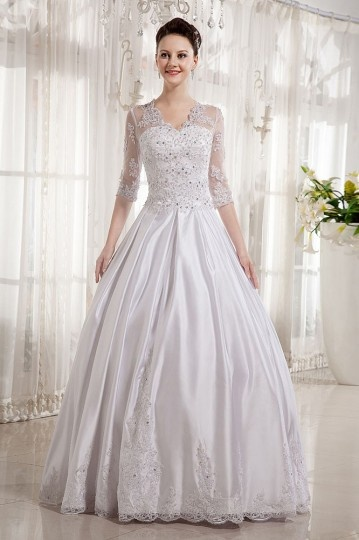 Satin V neck Applique Chapel Train A line Wedding Dress