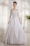 Vestido de noiva princesa decote em V com manga de cetim na altura do cotovelo