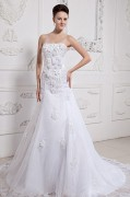Beautiful Applique Beading Strapless Monarch Train Satin & Organza A line Wedding Dress