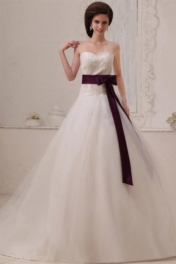 Vestido de casamento simple bustiê Sem alça em Tule linha A decorado de apliques e gravata borboleta