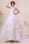 Halter Floral Arrangements Organza Chapel Train A line Wedding Dresses