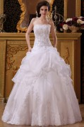 Strapless Floral Arrangements Catch Bubble Organza Floor Length A line Wedding Dresses