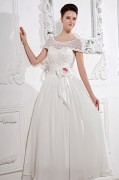 Bateau Lace Beading Chiffon Court A line Bridal Gown Wedding Dress