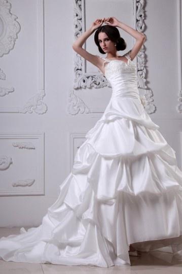 Vestido de noiva Moderno bustiê decote em coração decorado de apliques e flor feita à mão