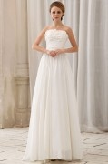 Elegant Solid Slim Ruffle Applique A line Strapless Court Train Chiffon Wedding Dress