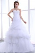 Sweetheart Beading Ruffles Organza Chapel Train A Line Wedding Dress