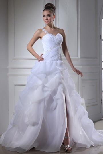 Chic A-Linie Ein Schulter Ärmelloses Brautkleider aus Organza Persun