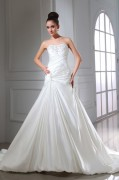 Satin Beading Ruffle Applique Strapless Chapel A line Bridal Gown Wedding Dress