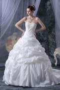 Stylish Taffeta Sweetheart Ruffle Court A line Bridal Gown Wedding Dress