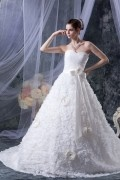 Organza Lace Flower Sweetheart Chapel A line Bridal Gown Wedding Dress
