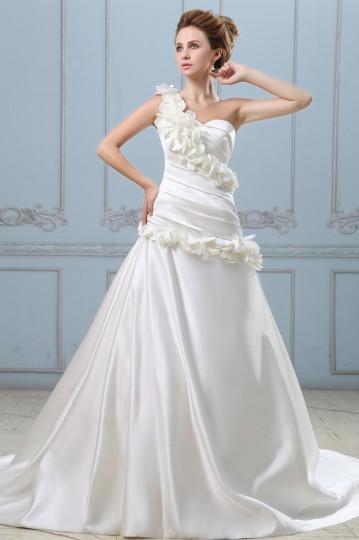 Elegant Solid Applique Ruffle A line One Shoulder Back Zipper Court Train Satin Wedding Dress